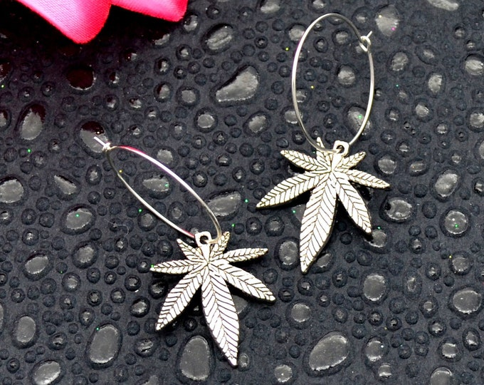 Marijuana Silver Charm Hoop Earrings