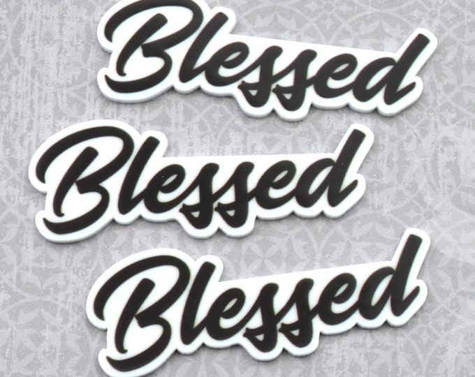 BLESSED-Word cabochon in UV print Laser Cut Acrylic