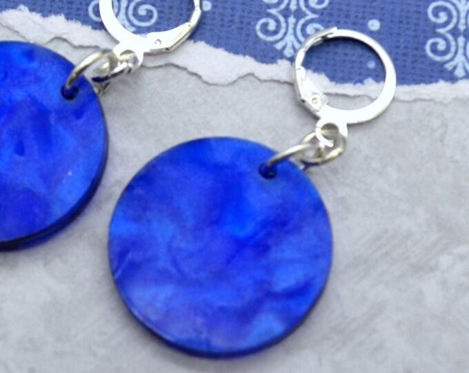 Pearlescent Blue Drop Huggies - Laser Cut Acrylic Earrings