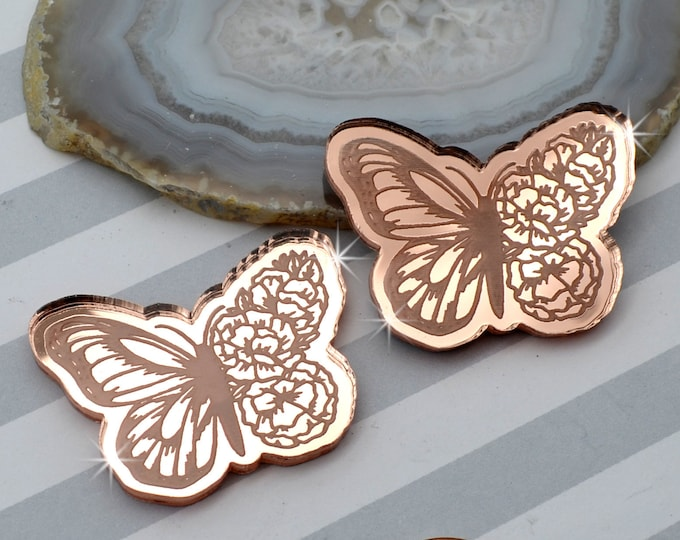 BLOOMING BUTTERFLY CABS - Rose Gold Mirror Laser Cut Acrylic - Set of 2