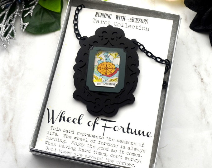 WHEEL OF FORTUNE - Tarot Collection - Laser Cut Acrylic -  Necklace