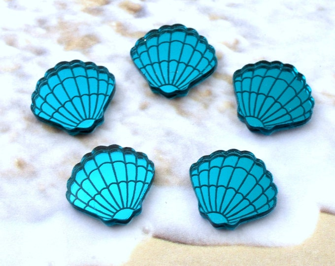TEAL SHELL CABS - Sea Shells - Laser Cut Acrylic -  Flatback Cabochons - Teal Mirror