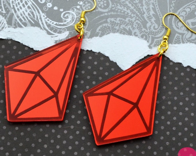 RUBY MIRROR PRISM Laser Cut Acrylic Earrings