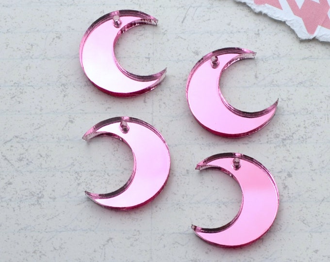 4 - Pink Mirror Moon Charms - In Laser Cut Acrylic