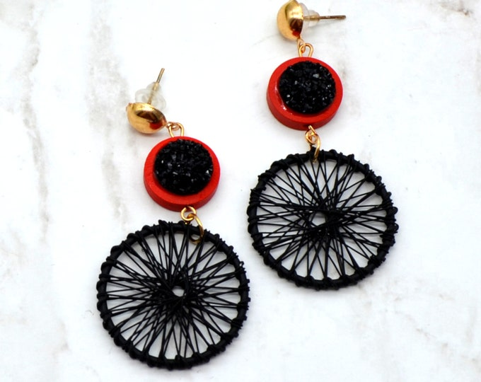 Dream Weaver - Black and Red - Golden Toned Dream Catcher with Druzy