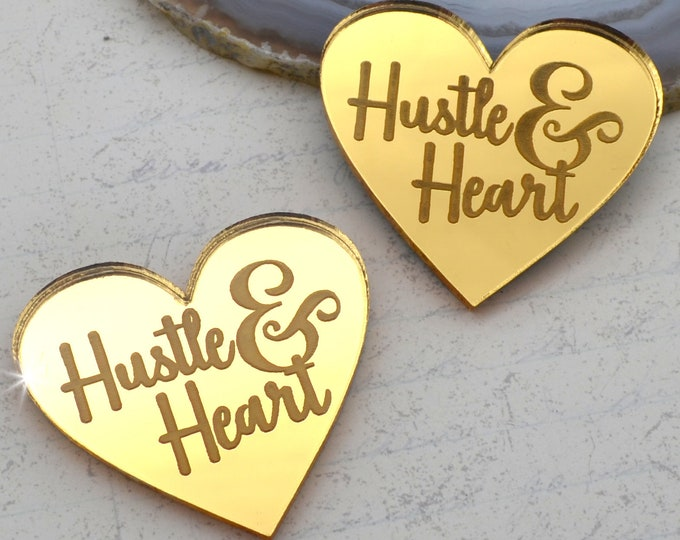 HUSTLE AND HEART - Gold Mirror Laser Cut Acrylic Cabs - Set of 2 Flatback Cabochons