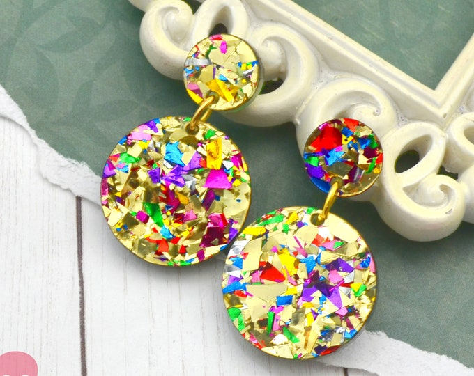 Gold Glitz Dangle Earrings - Christmas Laser Cut Acrylic Jewelry