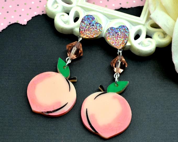 PEACHY KEEN - Peach Blossom - Summer Fruit Basket Collection - Stud Dangle Earrings