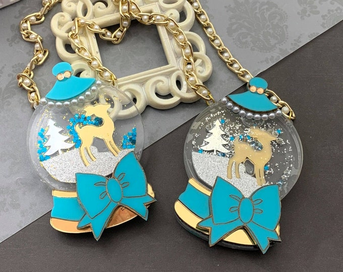 Sweet Snowglobe - Snowglobe Pendant Necklace -PYO Deer Color - Gold or Champagne