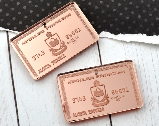 2 ROSE GOLD MIRROR Credit Cards - Fancy Fun Charms - Laser Cut Acrylic