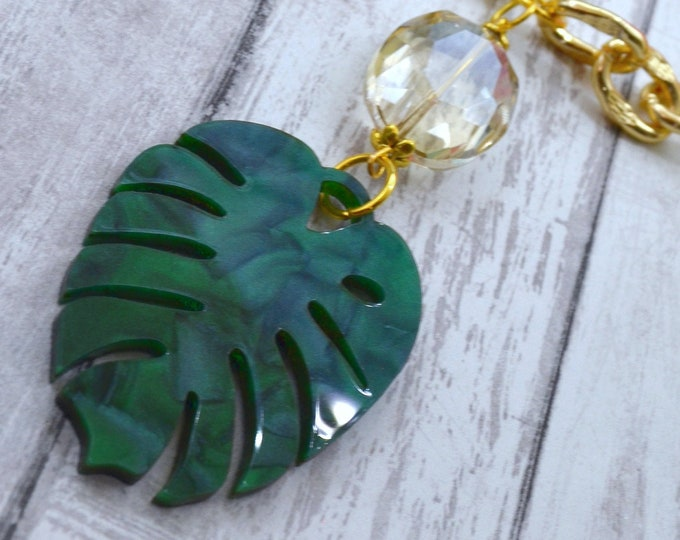 Tropical Monstera  - Laser Cut Acrylic Necklace