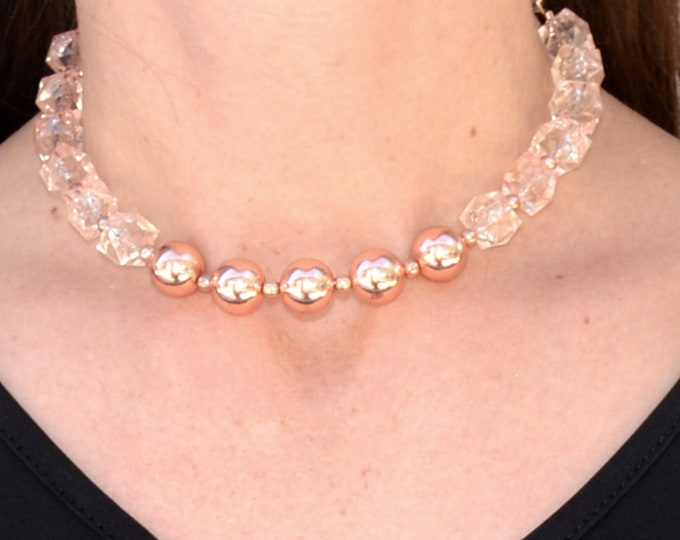 Rose Gold Lucite Choker - Couture Beaded Necklace