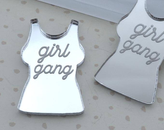 Girl Gang - Silver  Mirror Cabs - Cabochons - flat back - Laser Cut Acrylic