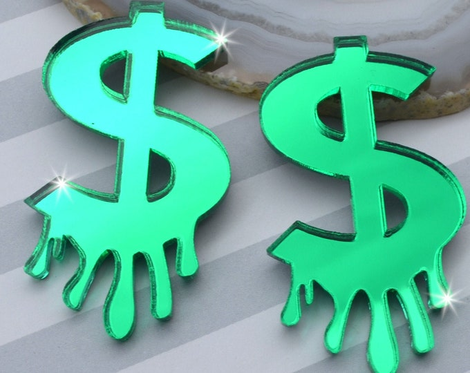 DRIPPING DOLLAR SIGNS - Green Mirror Laser Cut Acrylic Cabs - Set of 2 Flatback Cabochons