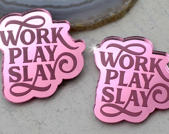 WORK PLAY SLAY - Cabochons- Pink Mirror Laser Cut Acrylic Cabs - Set of 2