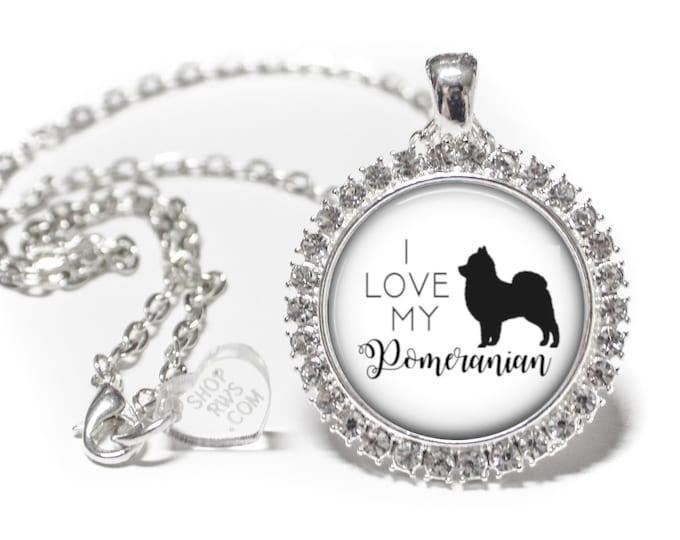 I Love My Pomeranian - Dog Necklace - Rhinestone Necklace