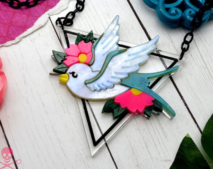 SPARROW SWEETHEART - Tattoo Flash Inspired Laser Cut Acrylic Necklace