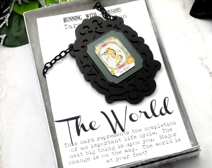 THE WORLD - Tarot Collection - Laser Cut Acrylic -  Necklace