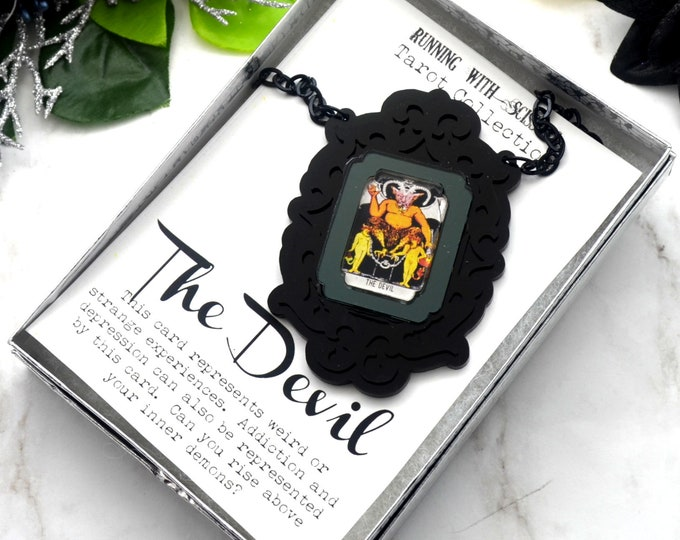 THE DEVIL - Tarot Collection - Laser Cut Acrylic -  Necklace