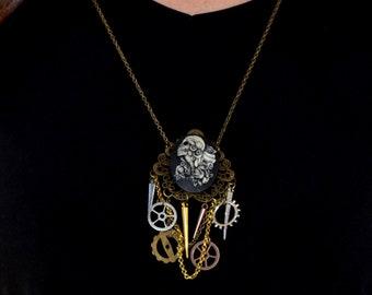 Steampunk Lolita Gear Charm Necklace - Dia De Los Muertos Cameo Necklace