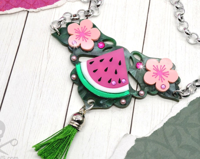 Slice of  Life - Watermelon Bib - Summer Fruit Basket Collection - Necklace