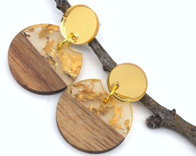 Flecked with Gold Dangle Earrings