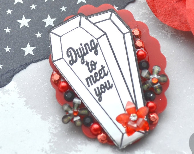 Dying to Meet You Brooch - Red Cameo