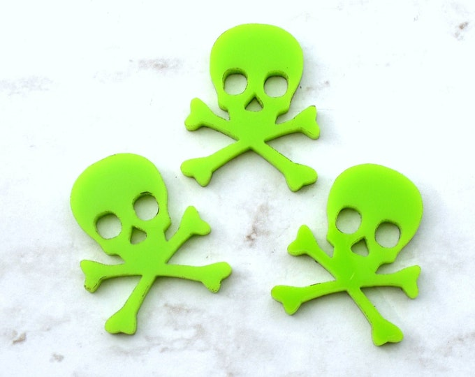3 SKULL CABOCHONS- In Apple Green Laser Cut Acrylic