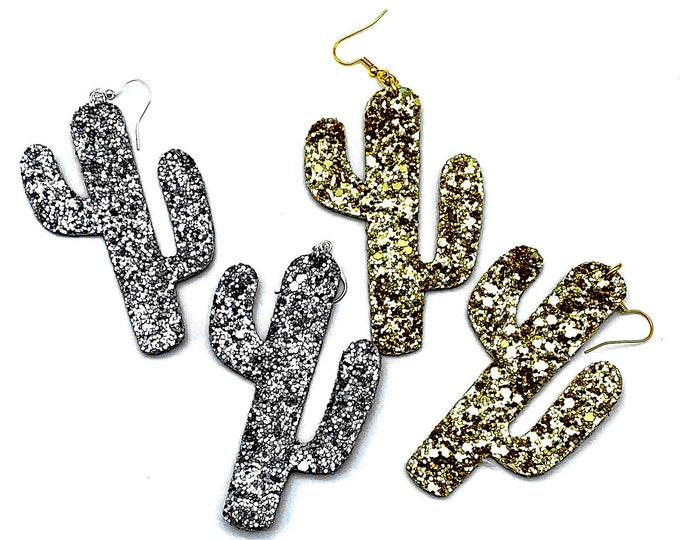 Desert Glitz and Glam Earrings - PYO Color - Gold or Silver Saguaro