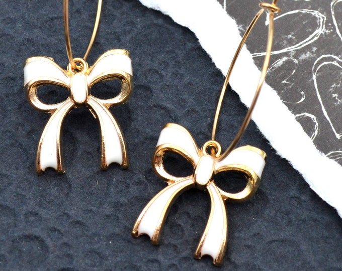 Adorable Bow Hoop Earrings - White Enamel