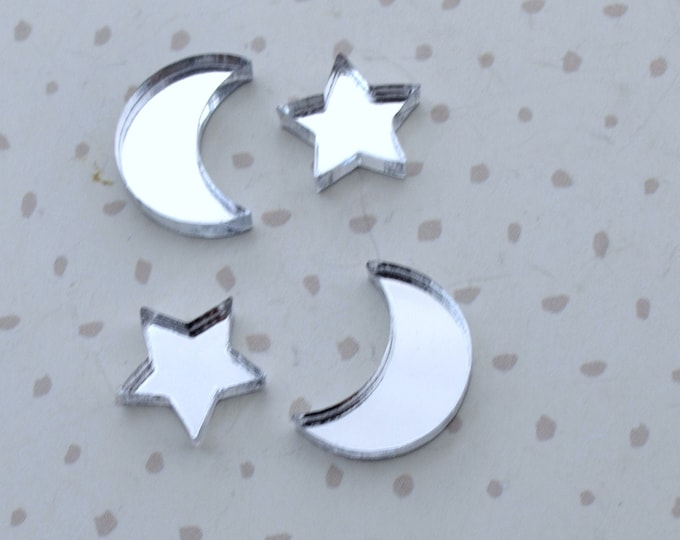 Silver Mirror MOON and STARS - Set of 4 Cabochons in Laser Cut Acrylic