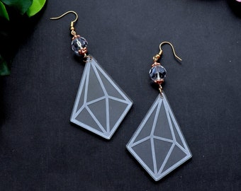 Rose Gold & Clear Diamond Shaped Laser Cut Acrylic Earrings