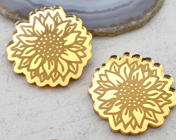 SUNFLOWER CABOCHONS - Gold Mirror Laser Cut Acrylic - Set of 2 Flat Back Cabs