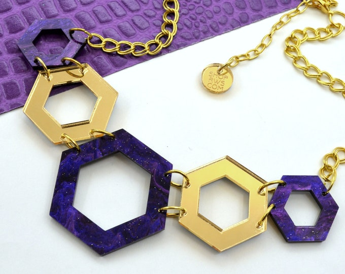 GALAXY - Hexagon Bib Necklace - Laser Cut Acrylic - Geometric Glam Collection