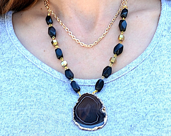 Midnight Geode Beauty - Black Geode Slice Double Strand Necklace