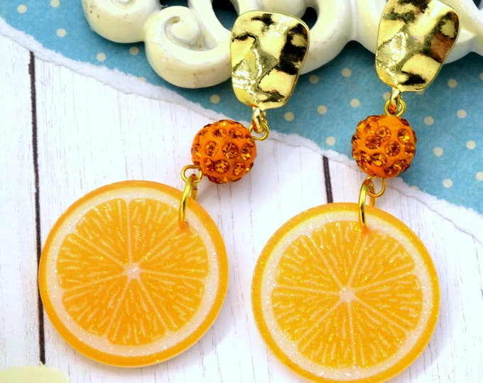 Sunkissed Oranges Dangle - Summer Fruit Basket Collection - Stud Dangle Earrings