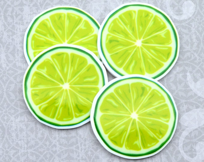 LIME SLICES -Cabochon in UV print Laser Cut Acrylic