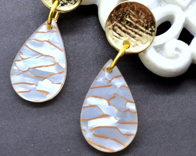 Gold Waves Teardrop Dangles - Laser Cut Acrylic Earrings