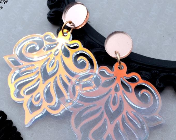 FLOURISH DANGLES in Iridescent Laser Cut Acrylic Earrings