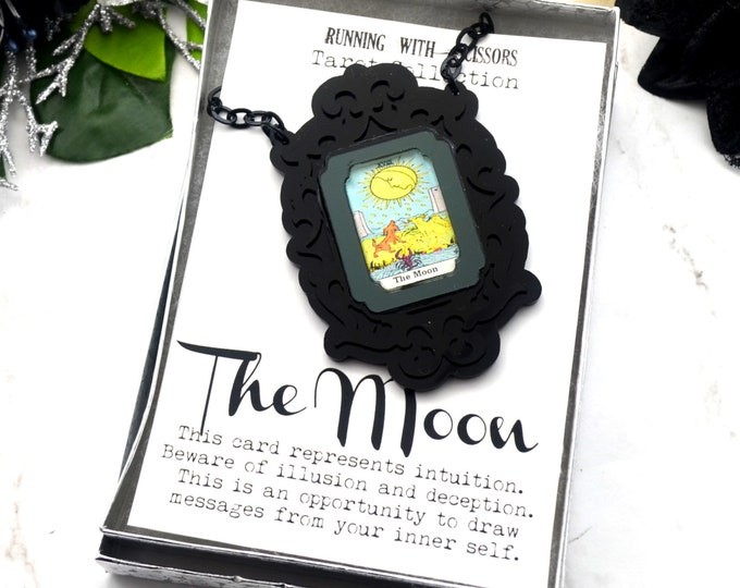THE MOON - Tarot Collection - Laser Cut Acrylic -  Necklace