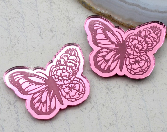 BLOOMING BUTTERFLY CABS - Pink Mirror Laser Cut Acrylic - Set of 2