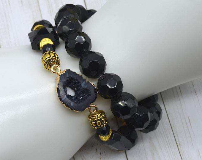 Black and Gold Geode Bracelet Stack - 2 pack
