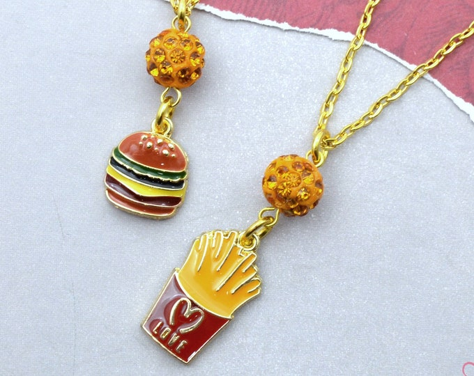 Burger and Fries Necklace Set