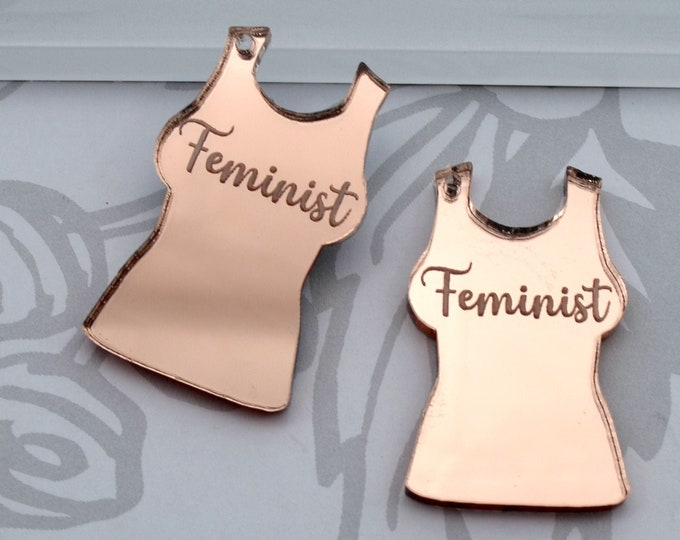 Feminist - Rose Gold Mirror Charms - flat back - Laser Cut Acrylic