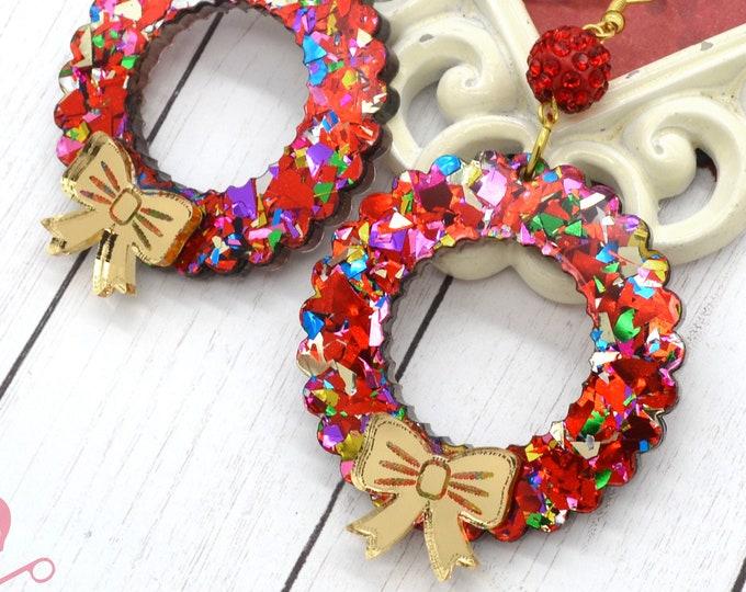 Glitzmas Wreath Red Dangles Holiday Earrings