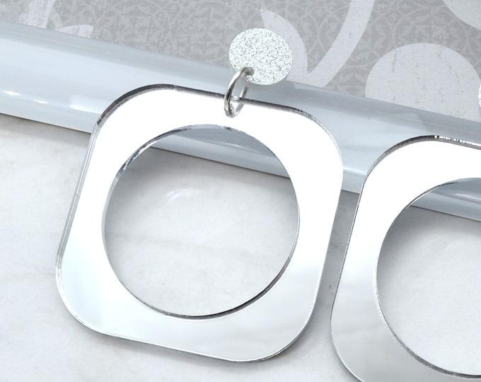 ALLURE HOOPS SILVER - Dangle Laser Cut Acrylic Earrings