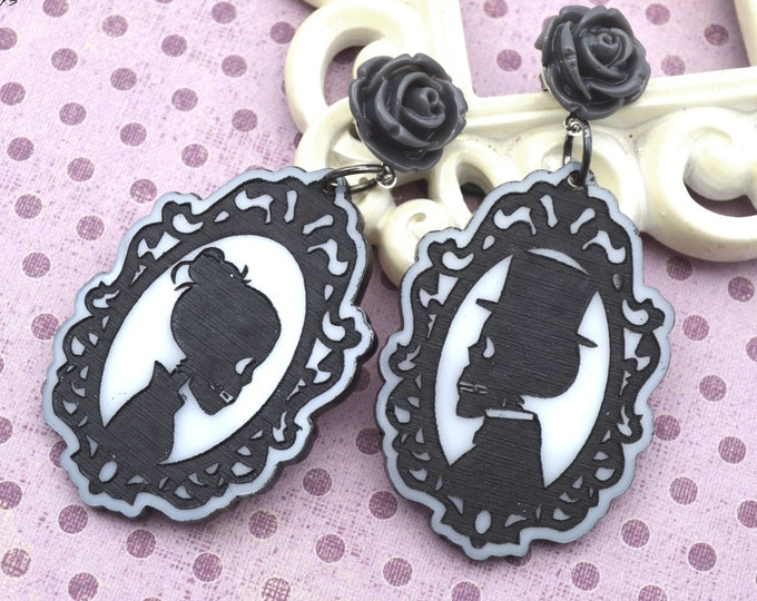 HAUNTED SOUL CAMEO Dangles - Black and White Cameo Earrings