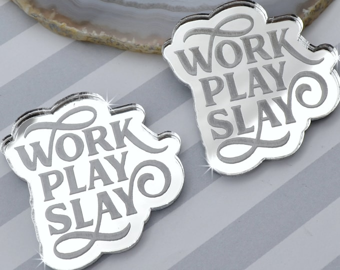 WORK PLAY SLAY - Cabochons- Silver Mirror Laser Cut Acrylic Cabs - Set of 2