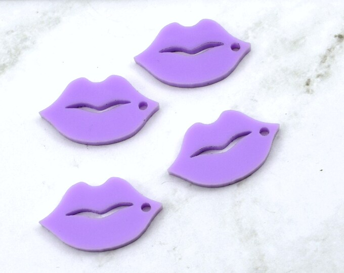 LAVENDER  LIPS - 4 Charms - 1 Hole - In Laser Cut Acrylic