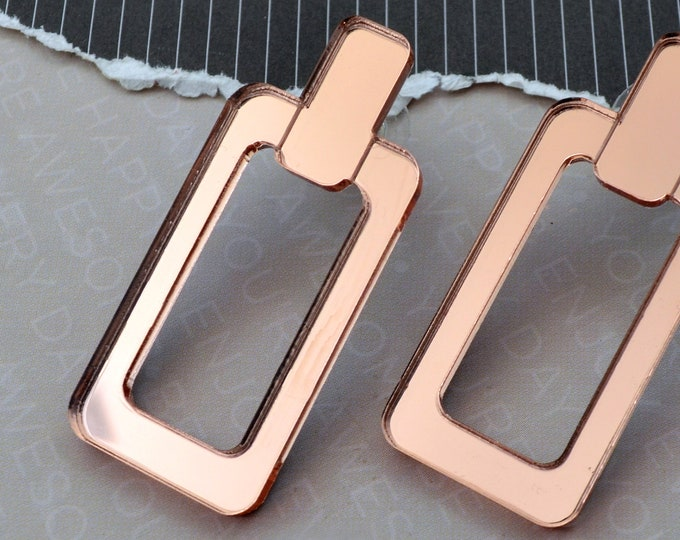 Link Me - Rose Gold Mirror Acrylic Post Dangle Earrings